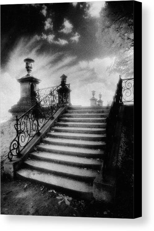 French Architecture; Outdoors; Staircase; Balustrade Canvas Print featuring the photograph Steps At Chateau Vieux by Simon Marsden
