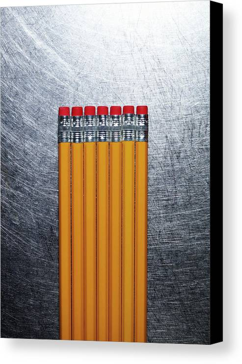 Vertical Canvas Print featuring the photograph Yellow Pencils With Erasers On Stainless Steel. by Ballyscanlon