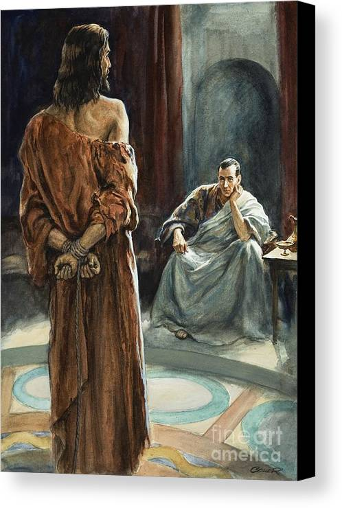 Christ; Pilate; Trial; Roman; Toga; Governor; Bible; Jesus; Rome Canvas Print featuring the painting Christ In Front Of Pontius Pilate by Henry Coller