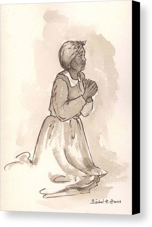 Female Canvas Print featuring the painting Dear God... by Barbel Amos