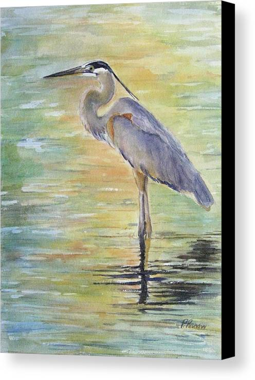 Great Blue Heron Canvas Print featuring the painting Heron At The Lagoon by Patricia Pushaw