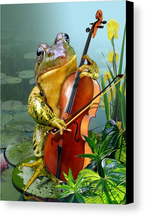 Humorous Scene Frog Playing Cello In Lily Pond Canvas Print featuring the painting Humorous Scene Frog Playing Cello In Lily Pond by Gina Femrite