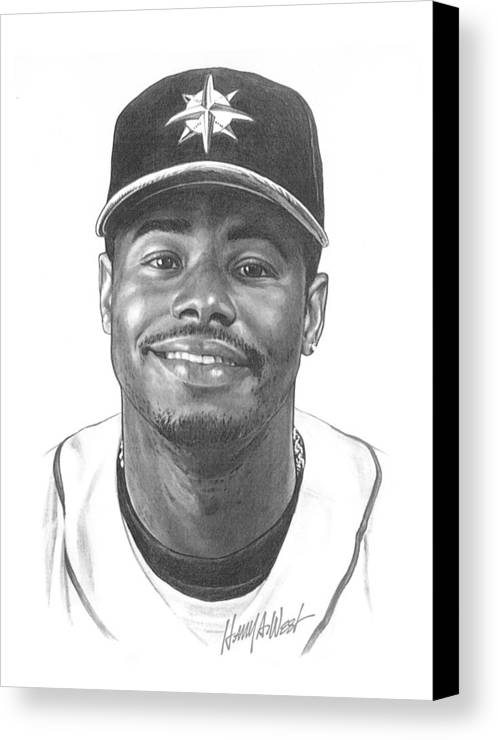 Ken Griffy Canvas Print featuring the drawing Ken Griffey Jr by Harry West