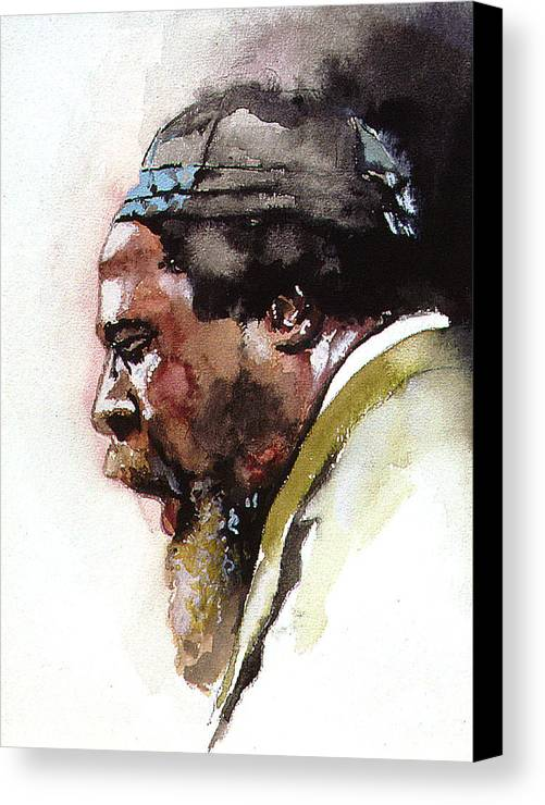 Watercolor Canvas Print featuring the painting Monk by Bryan Dechter