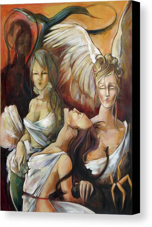 Greek Canvas Print featuring the painting No Rest For Hera's Wicked by Jacque Hudson