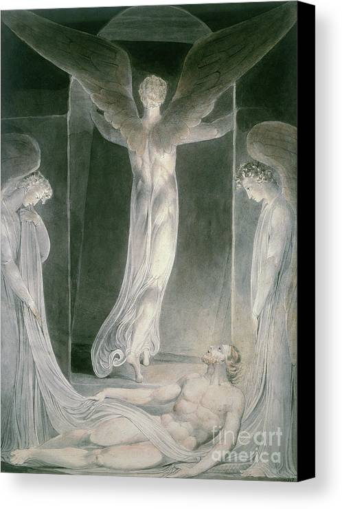 The Resurrection: The Angels Rolling Away The Stone From The Sepulchre By William Blake (1757-1827) Canvas Print featuring the drawing The Resurrection by William Blake