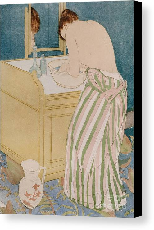Woman Bathing Canvas Print featuring the painting Woman Bathing by Mary Stevenson Cassatt