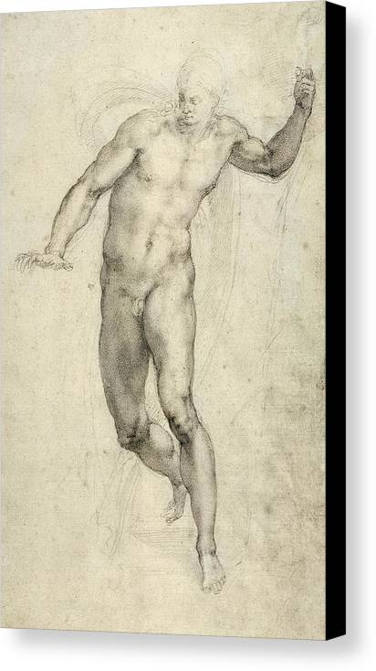 Sketch Canvas Print featuring the painting Study For The Last Judgement by Michelangelo Buonarroti