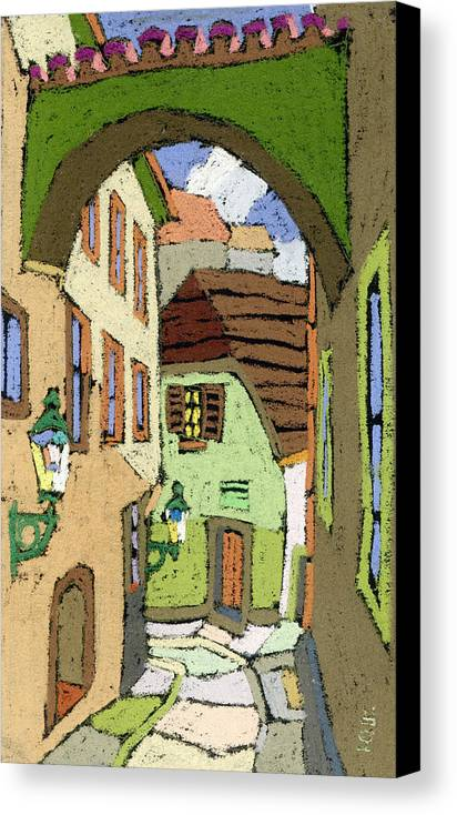 Pastel Canvas Print featuring the painting Cesky Krumlov Masna Street by Yuriy Shevchuk