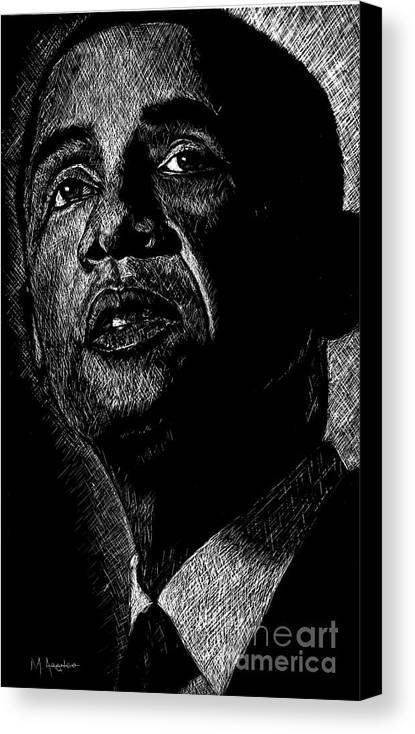 Barack Obama Canvas Print featuring the drawing Living The Dream by Maria Arango