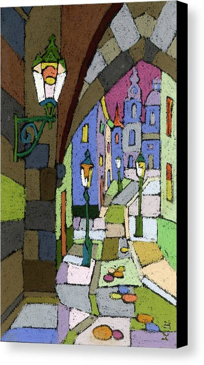 Pastel Canvas Print featuring the painting Prague Old Street Mostecka by Yuriy Shevchuk