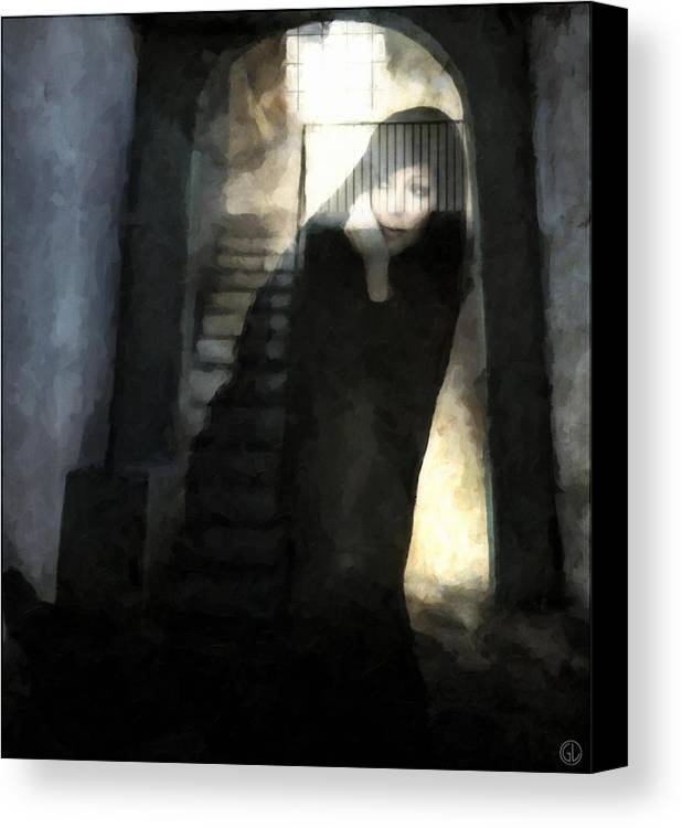 Woman Canvas Print featuring the digital art Visitor From Long Ago by Gun Legler