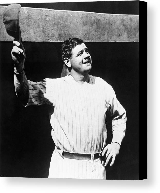 1930s Candid Canvas Print featuring the photograph Babe Ruth 1895-1948, American Baseball by Everett