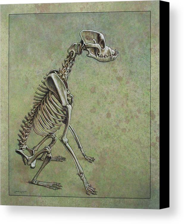 Dog Canvas Print featuring the drawing Stay... by James W Johnson