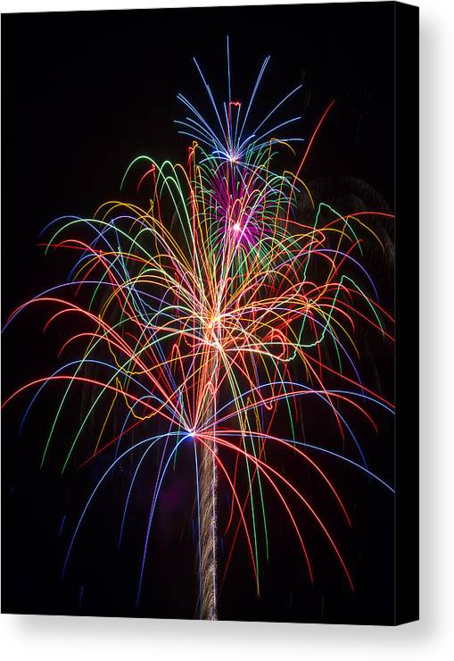 Fireworks Lights Up The Darkness Canvas Print featuring the photograph Colorful Fireworks by Garry Gay