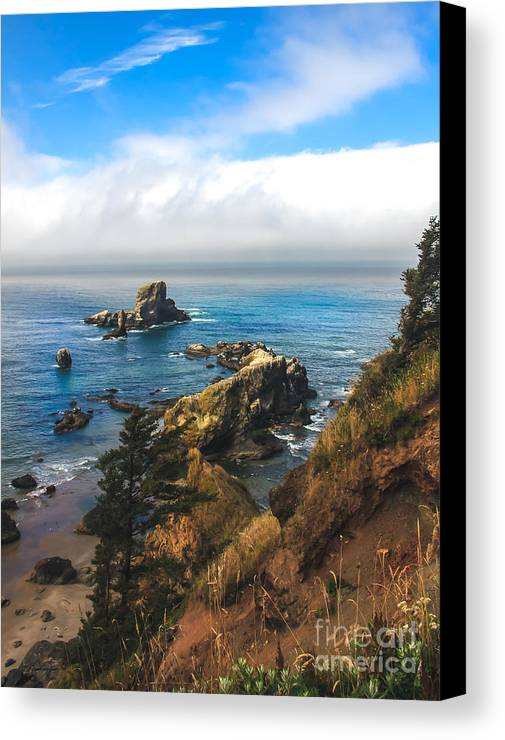 Oregon Coast. Seascape Canvas Print featuring the photograph A View From Ecola State Park by Robert Bales