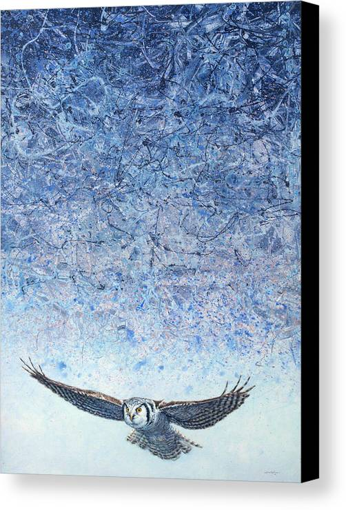 Owl Canvas Print featuring the painting Ahead Of The Storm by James W Johnson