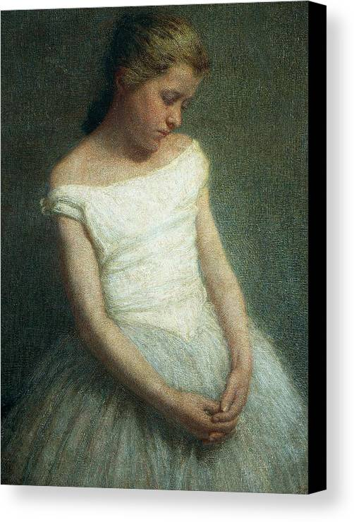 Painting; 19th Century Painting; 20th Century; Europe; Italy; Morbelli Angelo; Dancer (female); Glance; Post-impressionism Canvas Print featuring the painting Ballerina Female Dancer by Angelo Morbelli