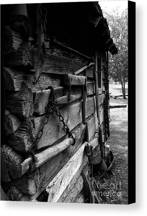 Log Cabins Canvas Print featuring the photograph Cabin Wall II by Julie Dant