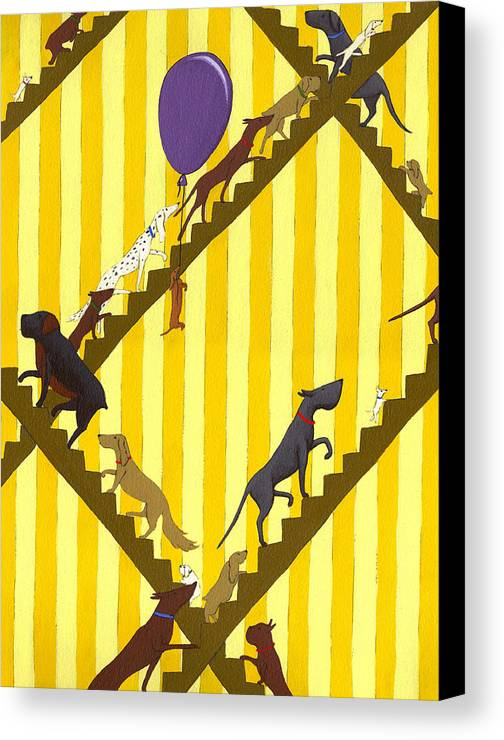 Dog Canvas Print featuring the painting Dogs Going Up Stairs by Christy Beckwith