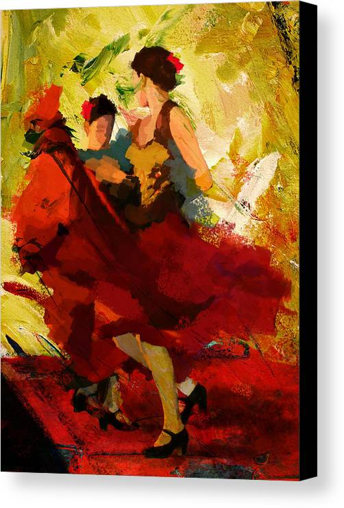 Jazz Canvas Print featuring the painting Flamenco Dancer 019 by Catf