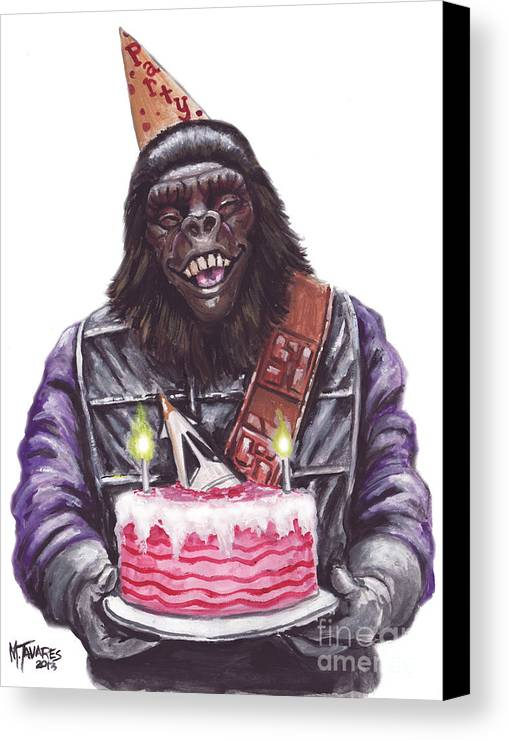Planet Of The Apes Canvas Print featuring the painting Gorilla Party by Mark Tavares