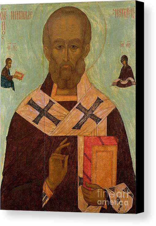 Saint Canvas Print featuring the painting Icon Of St. Nicholas by Russian School