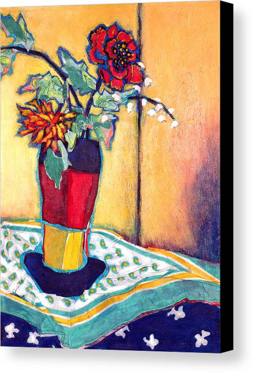 Flowers In A Vase Canvas Print featuring the mixed media Lilies Of The Valley by Diane Fine