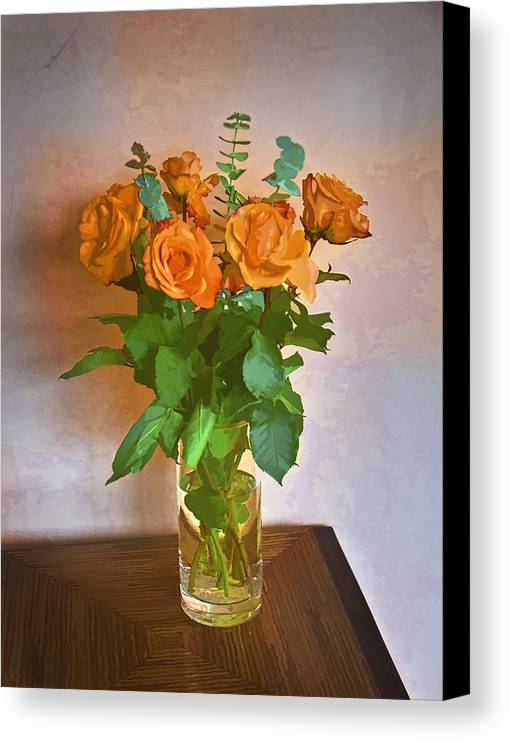 Roses Canvas Print featuring the photograph Orange And Green by John Hansen