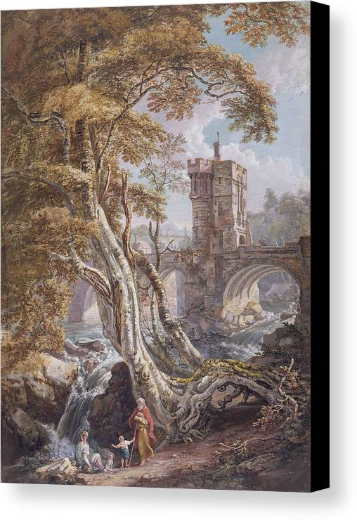 62 5x46 7cm Canvas Print featuring the painting Pd.8-1976 View Of The Old Welsh Bridge by Paul Sandby