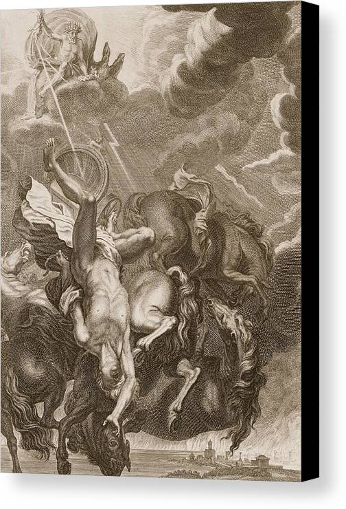 Jupiter Canvas Print featuring the drawing Phaeton Struck Down By Jupiters by Bernard Picart