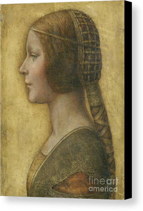 Female; Portrait; Plait; Hairstyle; Drawing; Renaissance; Leonardo Canvas Print featuring the painting Profile Of A Young Fiancee by Leonardo Da Vinci