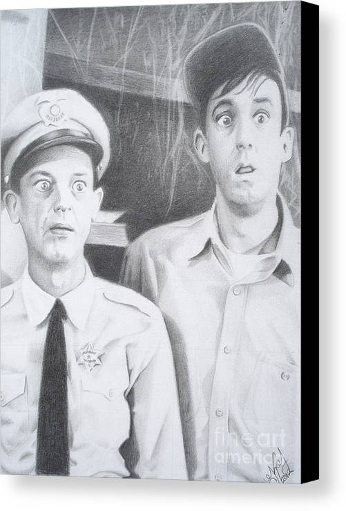 Andy Griffith Canvas Print featuring the drawing Scared Silly by Kendra Tharaldsen-Franklin