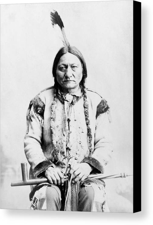 Native American Canvas Print featuring the photograph Sitting Bull by War Is Hell Store