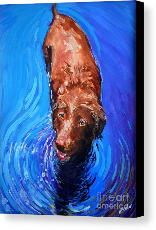 Chocolate Labrador Retriever Canvas Print featuring the painting Spin Cycle by Molly Poole