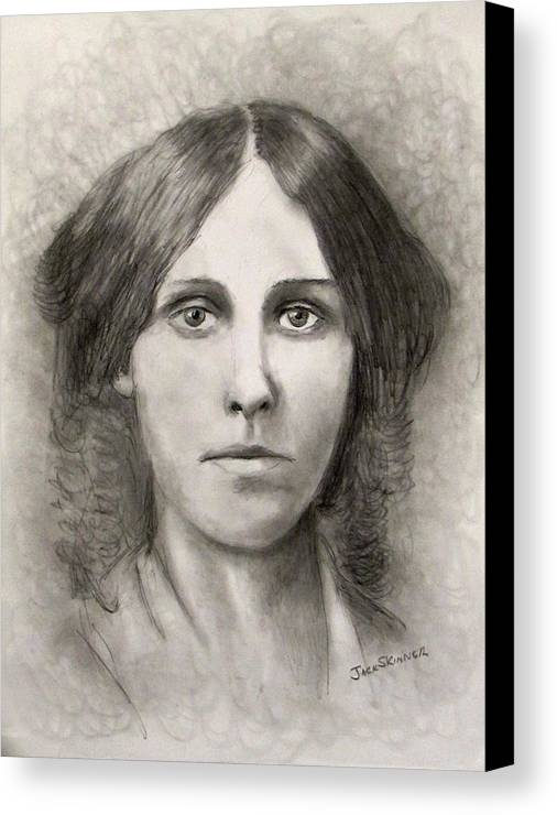 Louisa May Alcott Canvas Print featuring the drawing Louisa May Alcott by Jack Skinner