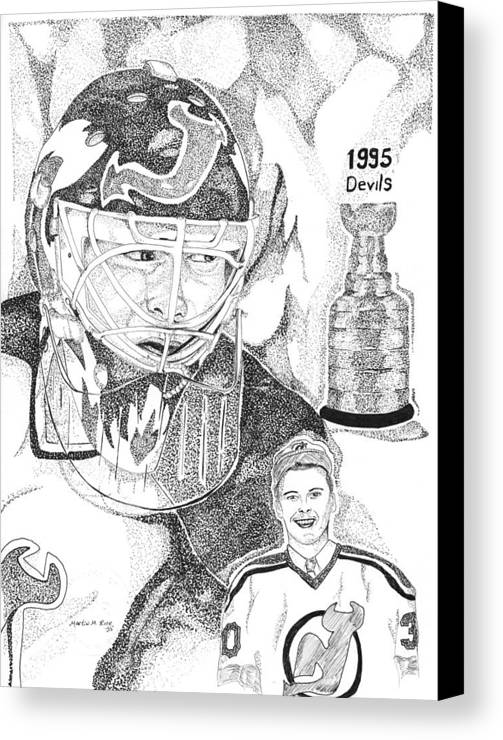 This Image Of Martin Brodeur Of The New Jersey Devils Took Over 12 Hours To Complete And Has Over 100 Canvas Print featuring the drawing Martin Brodeur Sports Portrait by Marty Rice
