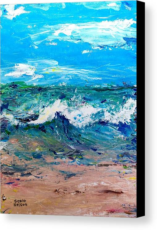 Moody Beach Canvas Print featuring the painting Moody Beach In A Mood by Scott Nelson