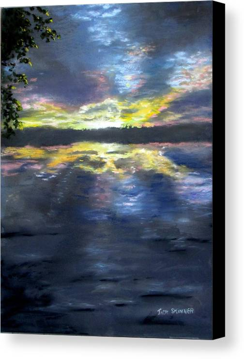 Sunset Canvas Print featuring the painting Sunset Over Mystic Lakes by Jack Skinner