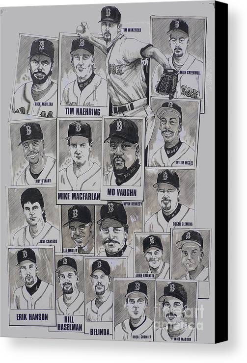 Mbl Canvas Print featuring the drawing Al East Champions Red Sox Newspaper Poster by Dave Olsen