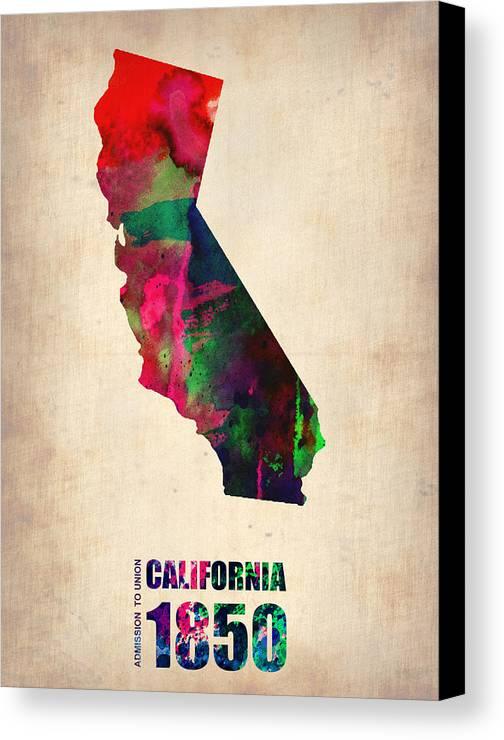 California Canvas Print featuring the digital art California Watercolor Map by Naxart Studio