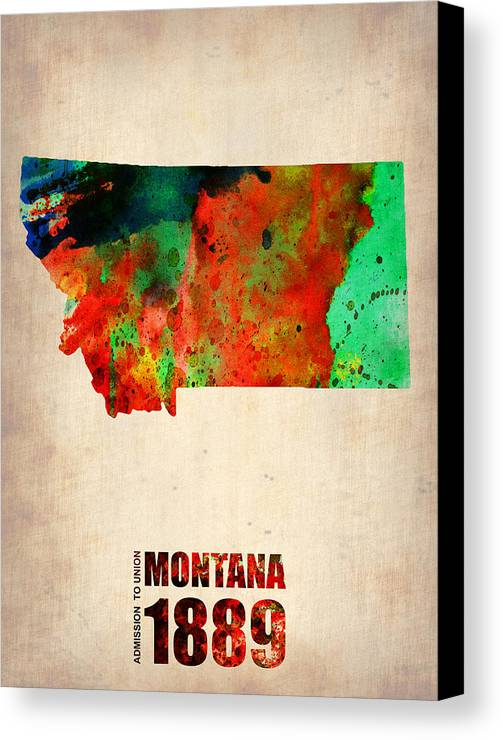 Montana Canvas Print featuring the mixed media Montana Watercolor Map by Naxart Studio