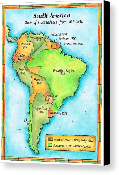 Vertical Canvas Print featuring the digital art South American Independence by Jennifer Thermes