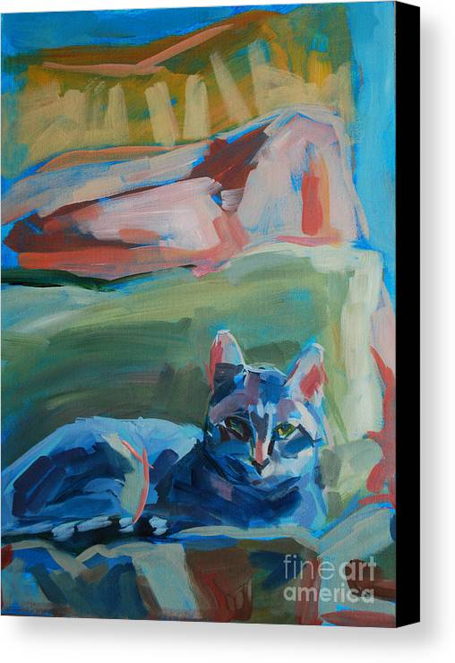 Gray Tabby Canvas Print featuring the painting The Princess And The Pea - Sketch by Kimberly Santini