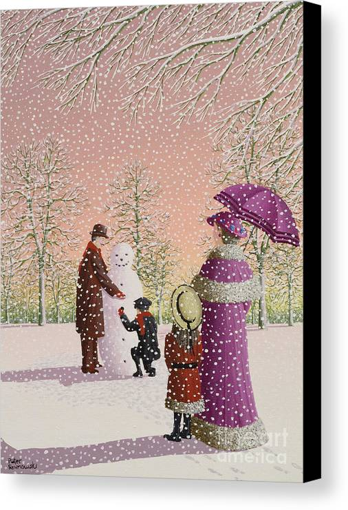 Snowman; Snow; Snowing; Winter; Cold; Woman; Umbrella; Parasol; Child; Children; Man; Playing; Outside; Landscape; Tree Canvas Print featuring the painting The Snowman by Peter Szumowski