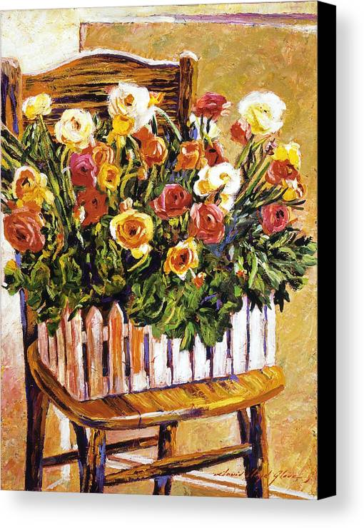 Still Life Canvas Print featuring the painting Chair Of Flowers by David Lloyd Glover