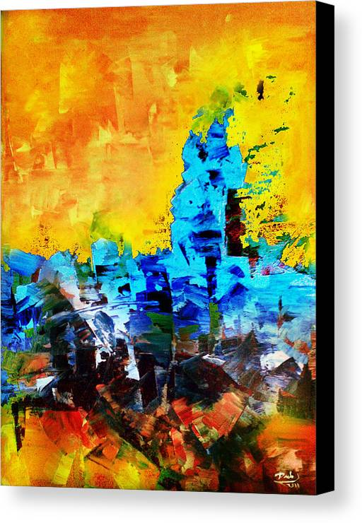 Canvas Print featuring the painting Abstract by Deeb Marabeh