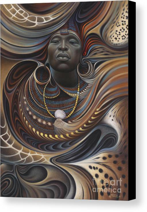 African Canvas Print featuring the painting African Spirits I by Ricardo Chavez-Mendez