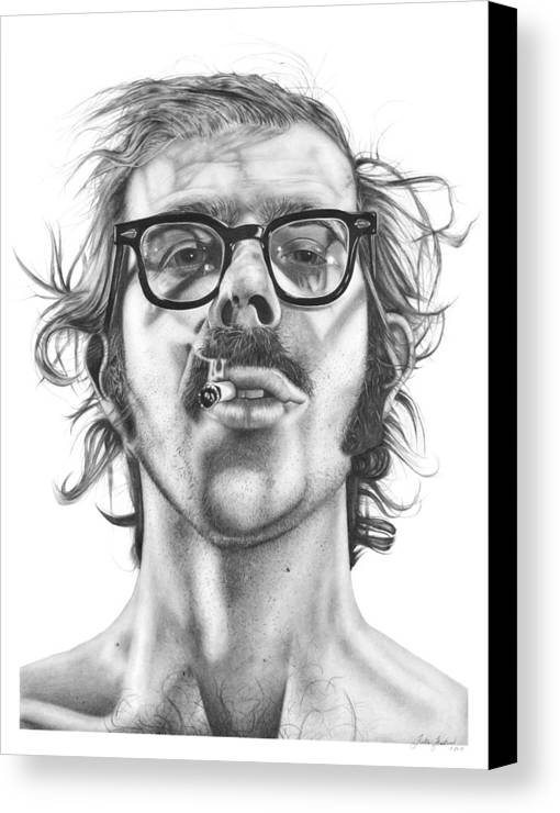 Chuck Canvas Print featuring the drawing Chuck Close by Kalie Hoodhood
