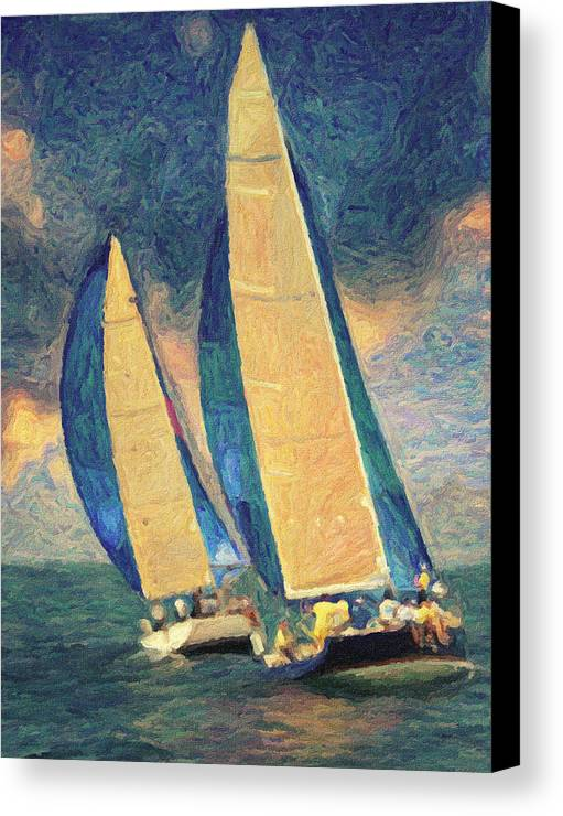 Oil Painting Canvas Print featuring the painting Costa Smeralda by Taylan Soyturk